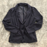 Womens Betabrand Size M Navy Pinstripe Blazer Long Sleeve Collar