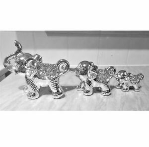 Silver crushed diamond crystal set of 3 Elephant ornaments figurine home decor