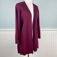 Size 1X Karen Scott Plus Burgundy Red 3/4 Sleeve Open Front Cardigan Sweater NWT