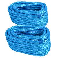 2pcs 5/8 in x 50ft Double Braid Nylon Dock Line Mooring Rope,Eye:15 in - Blue US