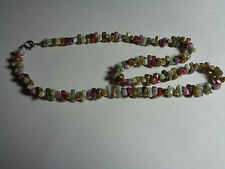 VINTAGE NECKLACE SEMI PRECIOUS STONE STICK BEAD WEDDING PARTY PROM FESTIVAL