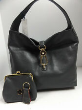 NEW Dooney & Bourke Leather Hobo with Logo Lock & Wallet & Key Chain DARK GREY