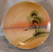 Beautiful vintage (1921-1928)  MEITO CHINA HAND PAINTED PLATE   SUNSET JAPAN