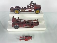 """Cast Iron Hubley and Arcade  Kenton 11 1/2"""" Fire Truck Parts and Repair Lot"""