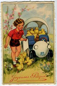 CPA Fantaisie Joyeuses Pâques Poussins dans voiture