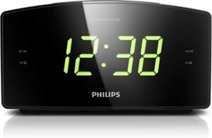 Philips AJ3400 Wake-Up Alarm Clock with Radio for Bedside or Kitchen BLACK
