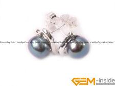 6-7mm Freshwater Pearl White GP Heart Frame Stud Earrings Fashion Jewelry