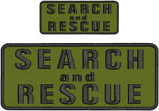 Search and Rescue embroidery patches 4x10 and 2x5  hook on back OD GREEN black
