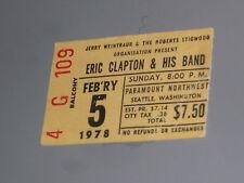 Vintage Eric Clapton Ticket Stub 02/05/1978 Seattle Washington