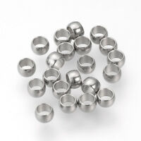 1000pcs Stainless Steel Crimp End Beads Smooth Column Tiny Stopper Bead 3x2mm