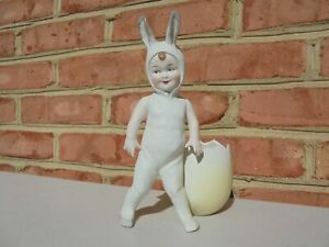 Vintage Erphila Bisque Porcelain Child Easter Bunny Outfit & Egg Heubach Style