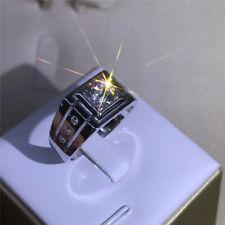 Wedding Band Ring Gift Size 7 Fashion Atmosphere Men's 14K White Gold Filled