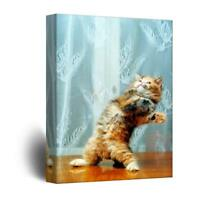 Wall26 - Cute Cat Playing with Flying Feathers Gallery - CVS - 16x24 inches
