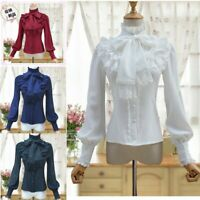 Medieval Renaissance Gothic Lolita Palace Flared Women Lace Blouses Shirt Tops