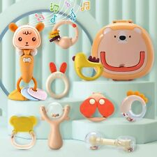Baby Rattles Teether Infant Toys Set Grab Shaker with Music Bpa Free +Box Gift