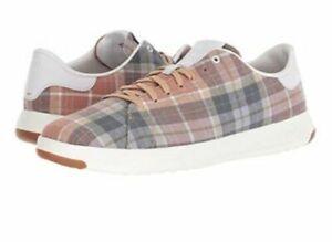 Cole Haan GrandPro New Lace Up Tennis Sneakers Plaid Textile C27227 - 7 1/2 M