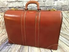 """Vintage 21"""" The Stetson Abel & Bach Co Brown Cowhide Leather Hard Case Suitcase"""