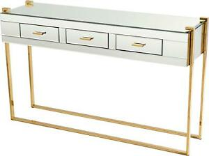 ST. CLAIR CONSOLE TABLE CYAN DESIGN AGED BRASS GLASS IRON