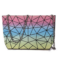 Geometric Holographic Luminous Women's Hand Bag Zipper Closure UK Stock NEW