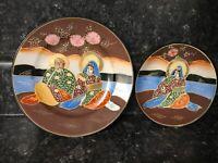 4 Japanese  Satsuma Moriage Hand Painted Gold Leaf Plates