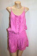 LUCETTE Brand Fuschia Sunset Silk Crochet Hem Playsuit Size 1 BNWT #HG43