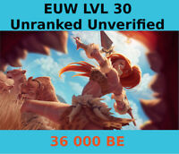 League of Legends SMURF ACCOUNT LVL 30 36.000+ BE EUW UNRANKED UNVERIFIED EMAIL