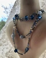 1980s Glass Necklace Vintage Blue White Beaded Retro Long Jewelry Jewellery Old