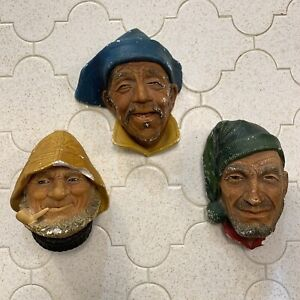 Lot Of 3 Vintage Bosson Heads Chalk ware VTG