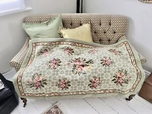 Beautiful Vintage Needlepoint Tapestry Throw Cover