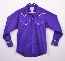 Vtg 70s Rockmount Ranchwear Men's Sz Medium Purple White Piping Pearl Snap Shirt