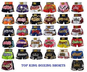 New Top King Muay Thai MMA K1 Kick Boxing Shorts Satin Normal & Retro S M L XL