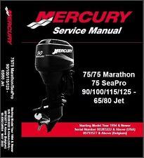 Mercury 65 80 Jet / 75 90 100 115 125 Hp Outboard Motors Service Manual CD