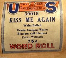 VINTAGE PLAYER PIANO WORD ROLL U S KISS ME AGAIN 39015 WALTZ BALLAD