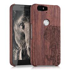 kwmobile Holz Schutz Hülle für Huawei Google Nexus 6P Elefantenmuster Rosenholz