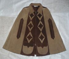 Vintage Brown Tan Mexican Suede Poncho Cape Authentic Made in Mexico Two Pockets