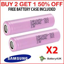 2 GENUINE Samsung 18650 Lithium Batteries 30Q 3000mAh 15A Battery **FREE CASE**