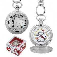 Hello Kitty Pocket Watch Sanrio Japan Limited Chain Charm Silver With Tracking