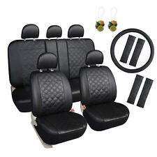 17pcs Faux Leather Seat Cover Set Combo Pack Black Fits most Cars,Trucks,SUV