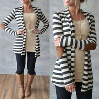 New Women Casual Long Sleeve Striped Cardigans Patchwork Outwear Sweater、MA