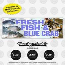 Fresh Fish Blue Crab Banner Food Market Restaurant Open Sign Shop Display Vinyl