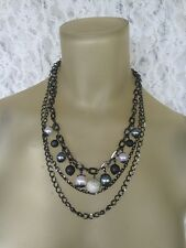 """GUESS 3 CHAIN SILVER TONE & BEADED LAYERED NECKLACE  20"""""""