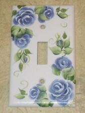 HaNd PaiNteD Blue Rose Single Toggle Switch Plate Cover hp Roses*