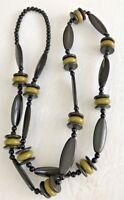 """Vintage 1950's Bakelite Necklace Olive Green & Black 44"""" long Flapper style"""