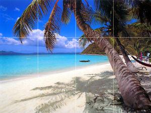24 x 18 Art Mural Ceramic Backsplash Bath Palm Sea Tile #150