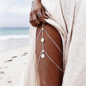 Retro Jewelry New Women Coins Body Boho Beach Multi-layer Tassel Thigh Leg Chain