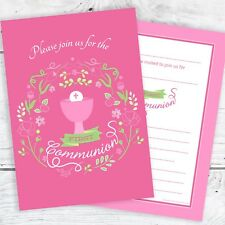 First Holy Communion Invitations - Girls Pink Design - Ready to Write (Pack 10)