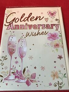 Golden Wedding Anniversary card With Envelope
