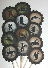Western Cowboy/Cowgirl Cupcake Toppers/Party Picks  Item #958