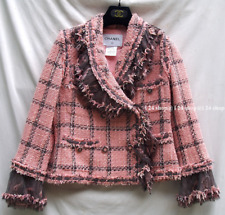 CHANEL 08A NEW $11000 PARIS LONDON  LESAGE TWEED TULLE LACE RUFFLE JACKET FR40