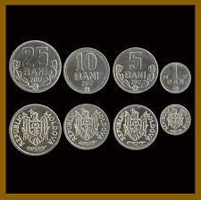 Moldova 1 5 10 25 Bani (4 Pcs Coin Set), 2017 Unc